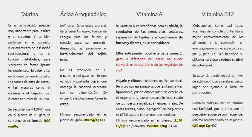 Taurina Ácido Araquidónico Vitamina Vitamina B12 en los piensos para gatos