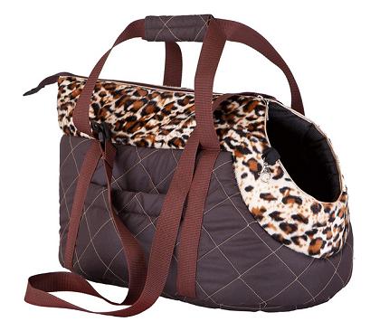 bolso transportín marrón con adornos